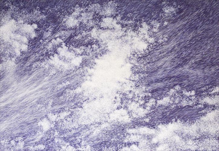 공기와 꿈 112x162cm 캔버스 에 염색한지 위에 한지 2013