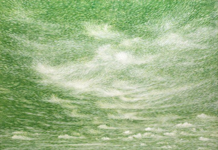 공기와 꿈 80.3x116.7cm 캔버스에 염색한지 위에 한지 2015