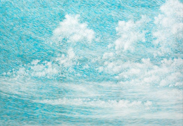 공기와 꿈 112x162cm 캔버스에 염색한지 위에 한지 2014
