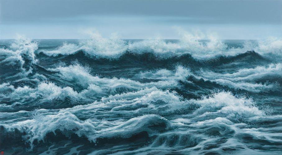 어느 이방인의 노래중에서 겨울바다, 2014,  Acrylic on canvas, 81.28×147.32 cm