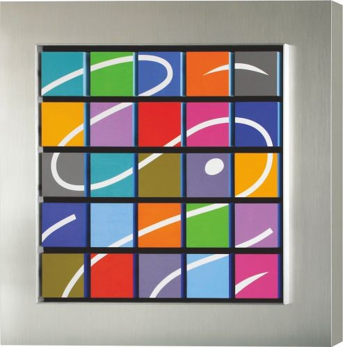 Back-beat,   2006,  Brushed stainless steel,Acrylic, mixed medi,  66x66x9cm