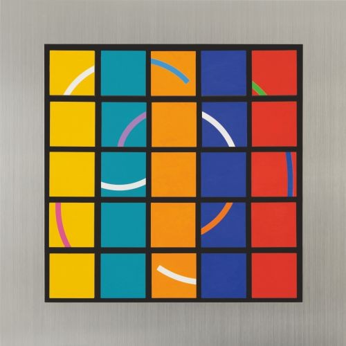 Turaround,   2010,  Brushed stainless steel, Acrylic, mixed medi,  66x66x9cm
