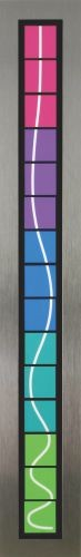 Towers with blue,   2006,  Brushed stainless steel,Acrylic, mixed medi,  14x21.5x9cm
