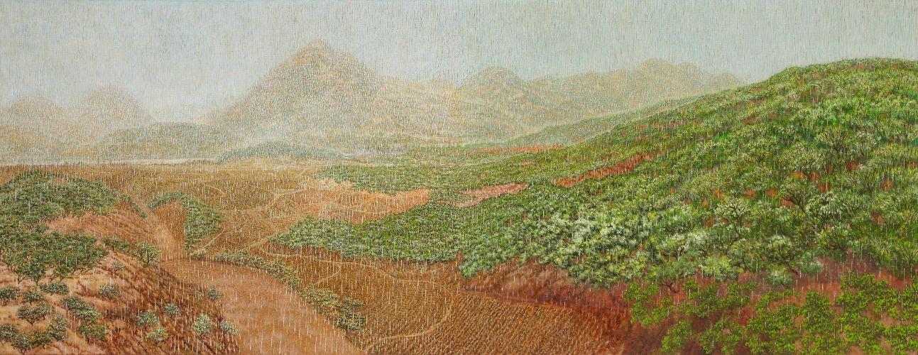 친구가 권유한 봄비나리는 곰나루,  2009-2012,  Oil on canvas,  91.5 x 234cm
