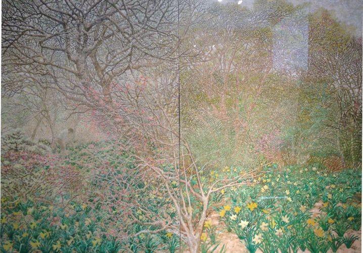 고개숙인 꽃과의 인사,  2005-2009,  Oil on canvas, 145x112cm