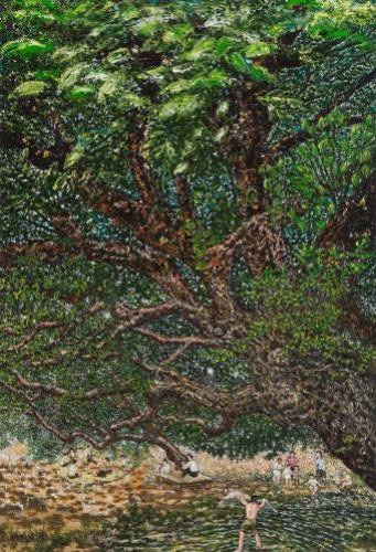 마을밖 버드나무 아래 행복한 사람들,  2013,  Oil on canvas,  107x72.5cm