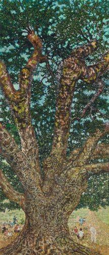마을 정주나무 밑에서 그리기,  2013,  Oil on canvas,  105x45cm
